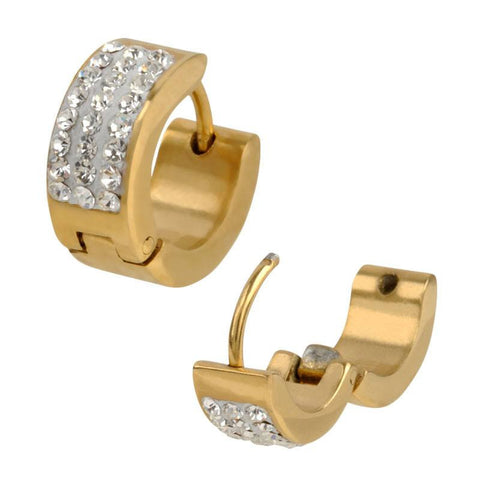 Clear Pave Set CZ Stones in IP Gold Huggies Earrings - Bijouterie en ligne