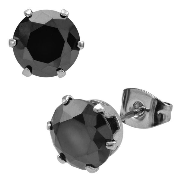black 6 prone Solitaire Studs Earrings - Bijouterie en ligne - 1