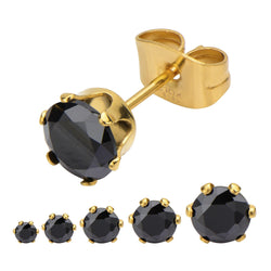 Black CZ in Gold IP Solitaire Studs Earrings - Bijouterie en ligne - 1