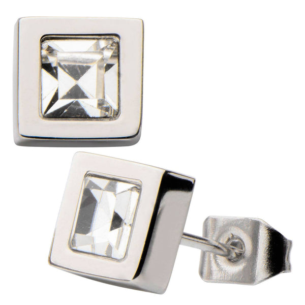 White Princess Crystal and Steel Square Geometric Stud Earrings. - Bijouterie en ligne - 1