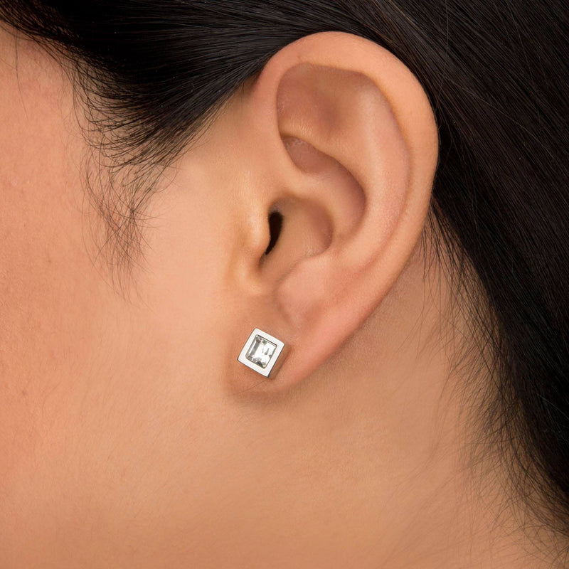 White Princess Crystal and Steel Square Geometric Stud Earrings. - Bijouterie en ligne - 4