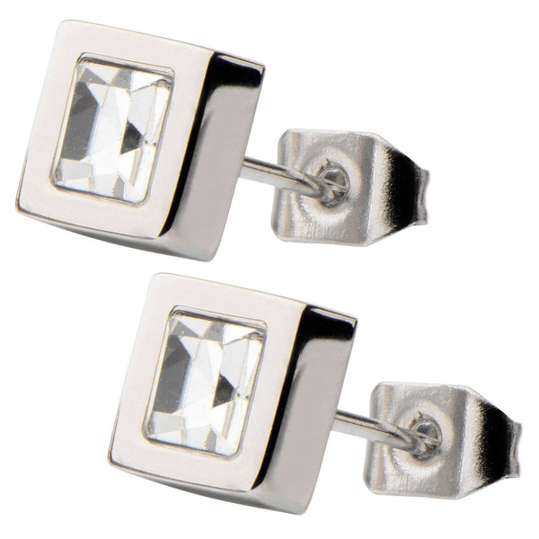 White Princess Crystal and Steel Square Geometric Stud Earrings. - Bijouterie en ligne - 2
