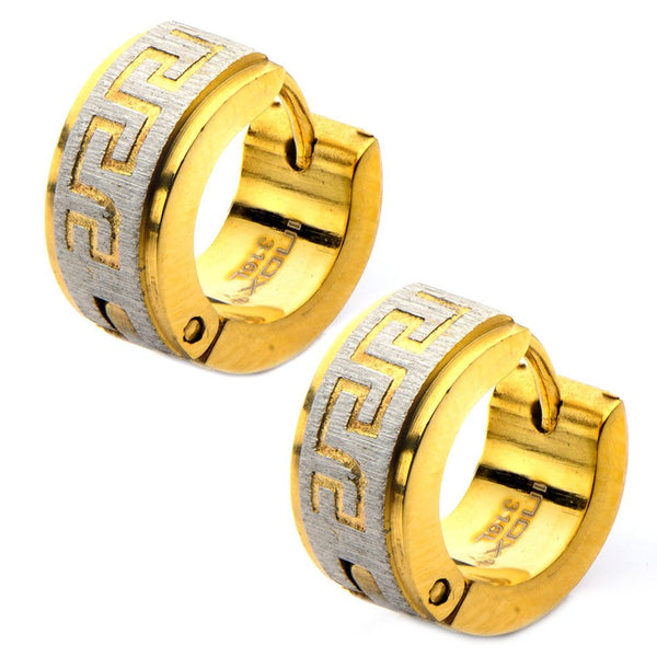 Gold IP Greek Key High Polished Huggies Earrings - Bijouterie en ligne - 1