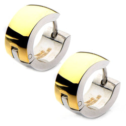 Gold IP and Steel Inside Out Huggies Earrings - Bijouterie en ligne - 1