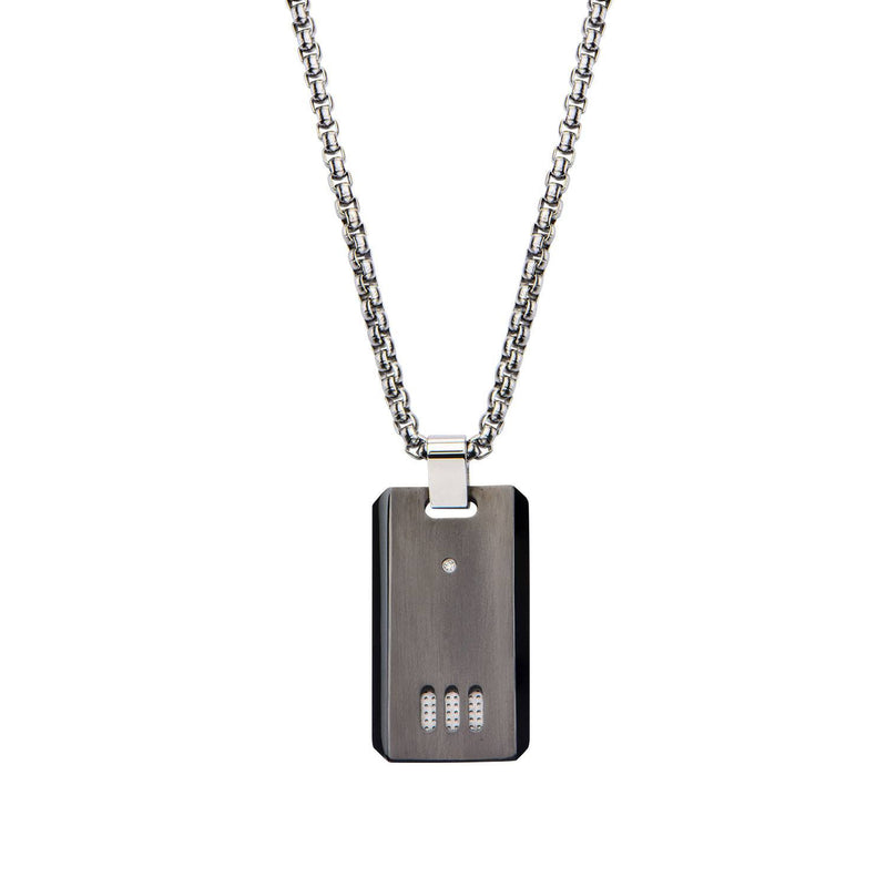 Black IP Gun Metal Finish with CZ Dog Tag Pendant with Chain - Bijouterie en ligne - 1