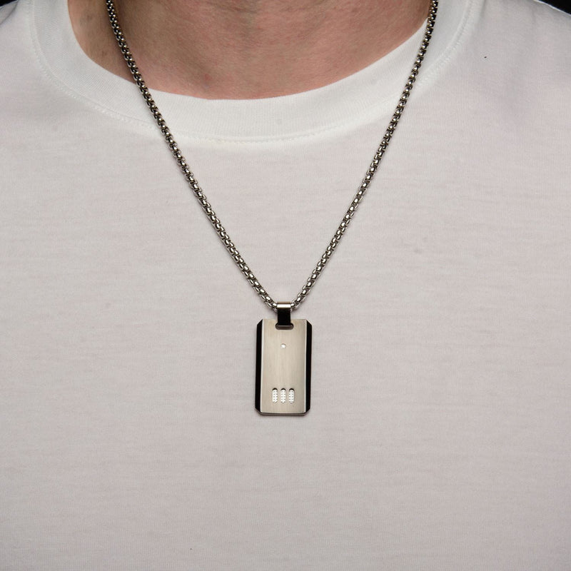 Black IP Gun Metal Finish with CZ Dog Tag Pendant with Chain - Bijouterie en ligne - 4