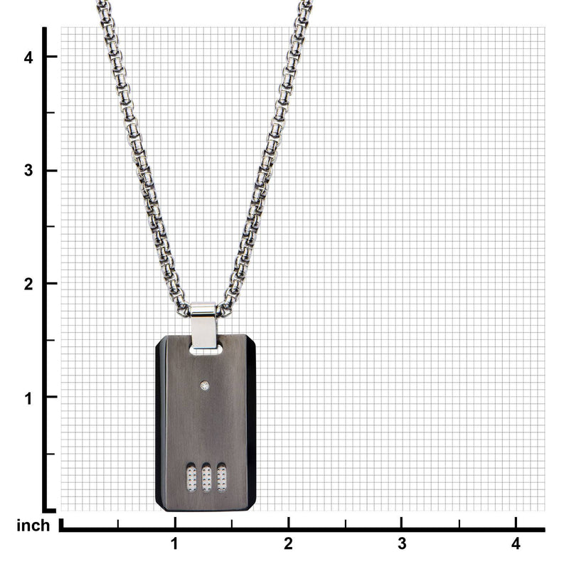 Black IP Gun Metal Finish with CZ Dog Tag Pendant with Chain - Bijouterie en ligne - 3