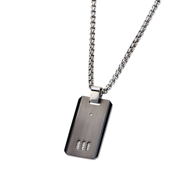 Black IP Gun Metal Finish with CZ Dog Tag Pendant with Chain - Bijouterie en ligne - 2