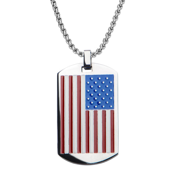 American Flag Dog Tag Pendant with Chain - Bijouterie en ligne - 1