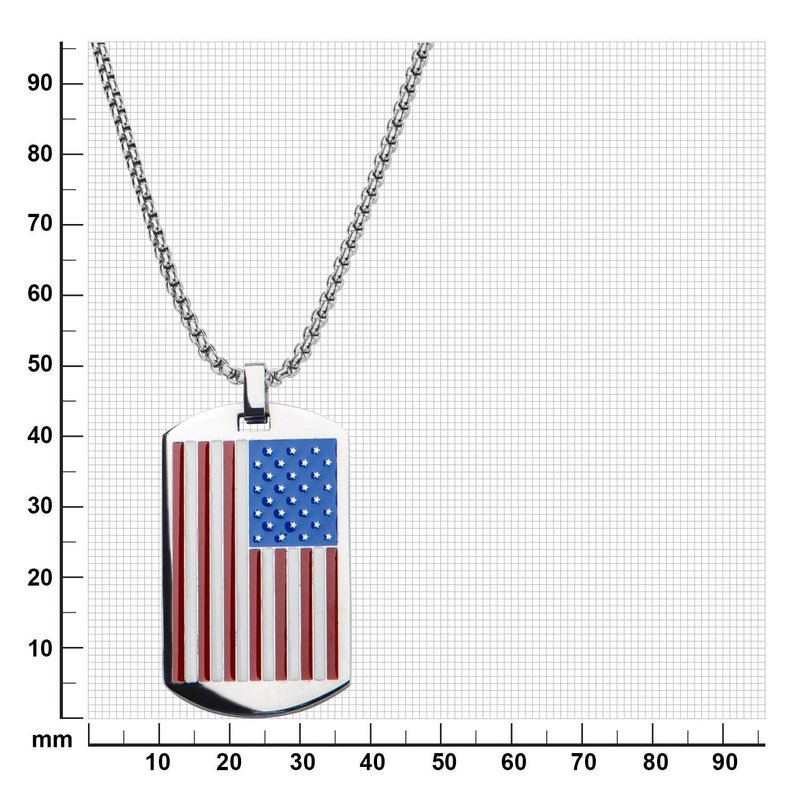 American Flag Dog Tag Pendant with Chain - Bijouterie en ligne - 3