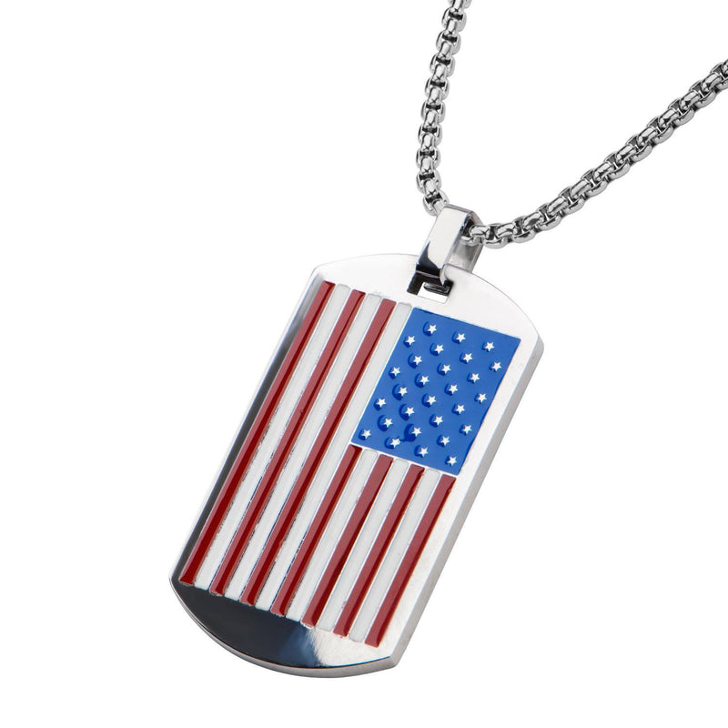 American Flag Dog Tag Pendant with Chain - Bijouterie en ligne - 2