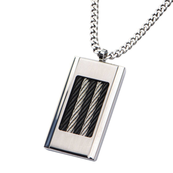 Black Cable Inlayed on Steel Dog Tag Pendant with 24 inch Chain - Bijouterie en ligne - 2