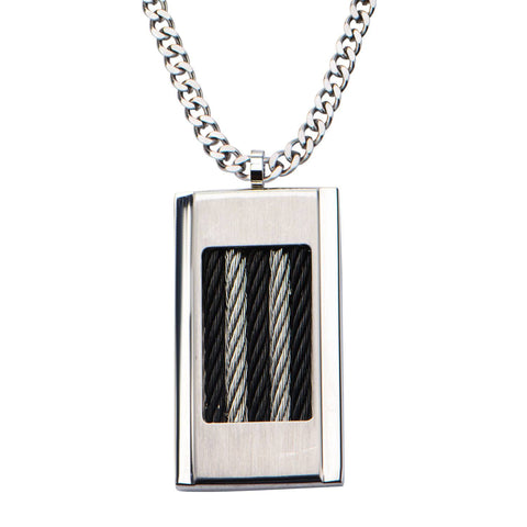 Black Cable Inlayed on Steel Dog Tag Pendant with 24 inch Chain - Bijouterie en ligne - 1