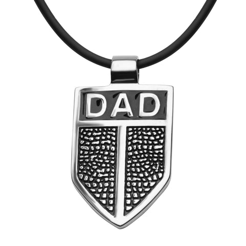 DAD Shield Pendant with Black Leather Cord Chain - Bijouterie en ligne - 1