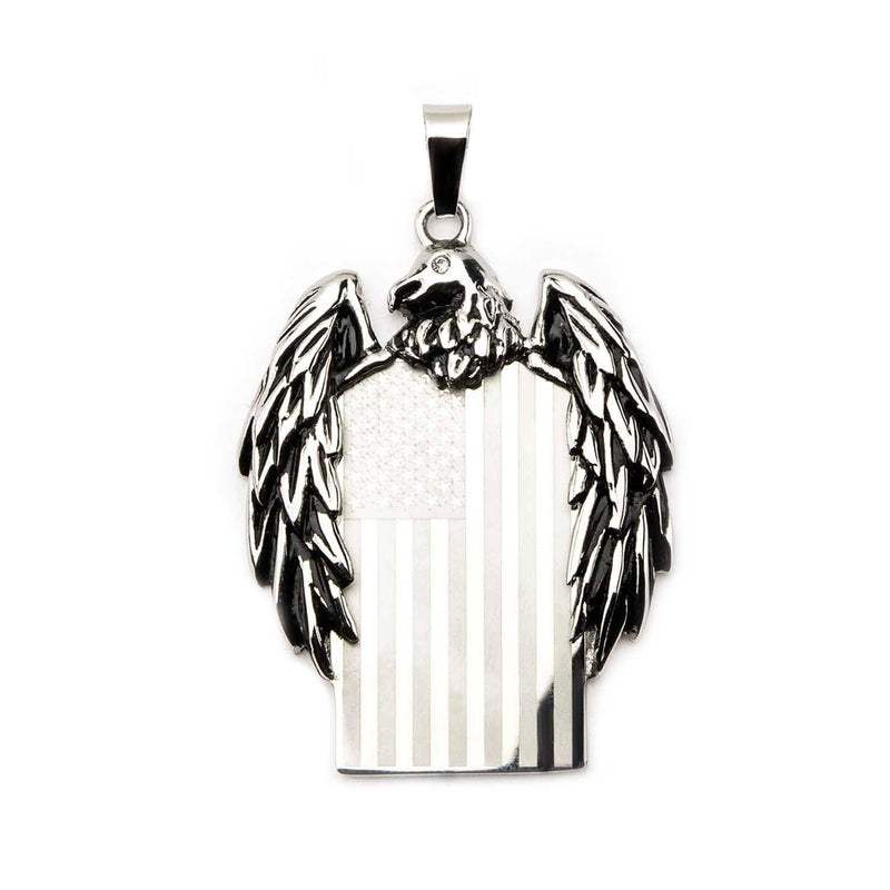 Eagle with American Flag Pendant