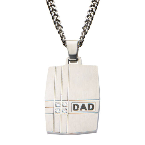 Geometric Design with Clear CZ's & Black Engraved DAD Dog Tag Pendant with 24 inch Chain - Bijouterie en ligne - 1