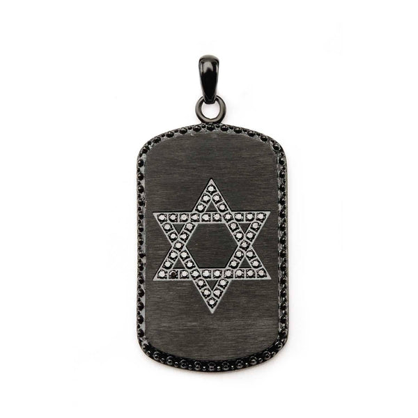 Black IP with Star of David Dog Tag Pendant