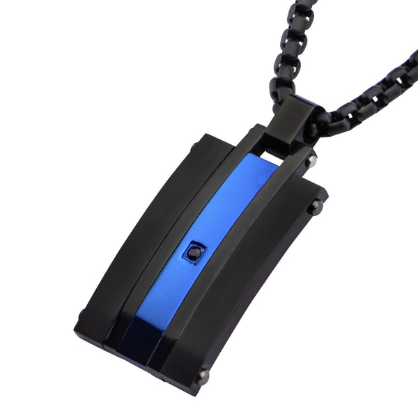 Matte Finished IP Black & IP Blue with Black CZ Pendant - Bijouterie en ligne - 1