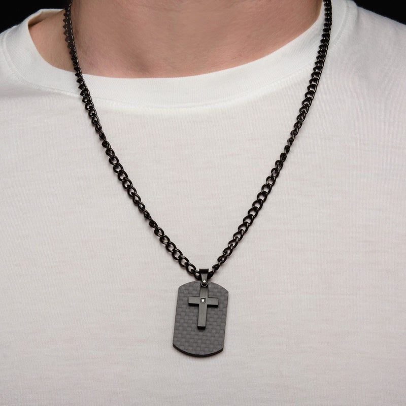 Black IP Cross with CZ Overlapping on a Solid Carbon Fiber Dog Tag - Bijouterie en ligne - 4