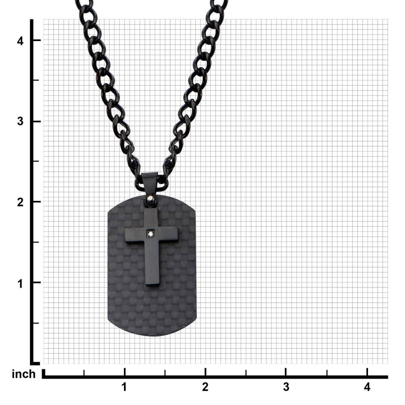Black IP Cross with CZ Overlapping on a Solid Carbon Fiber Dog Tag - Bijouterie en ligne - 3
