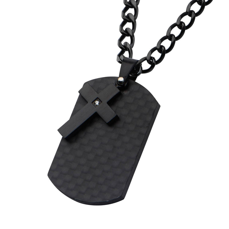 Black IP Cross with CZ Overlapping on a Solid Carbon Fiber Dog Tag - Bijouterie en ligne - 2