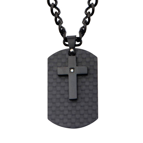 Black IP Cross with CZ Overlapping on a Solid Carbon Fiber Dog Tag - Bijouterie en ligne - 1