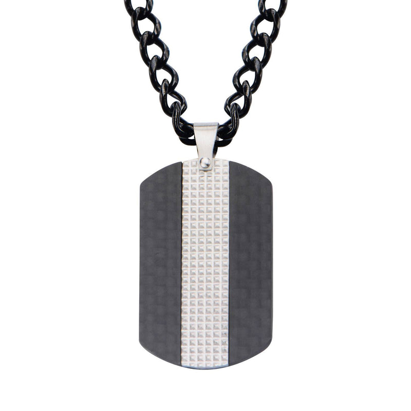 Black IP in Solid Carbon Fiber Dog Tag Pendant with Chain - Bijouterie en ligne - 1