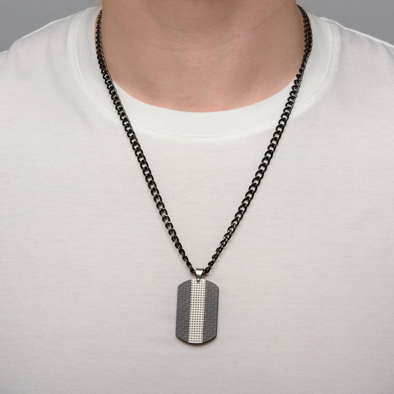 Black IP in Solid Carbon Fiber Dog Tag Pendant with Chain - Bijouterie en ligne - 4