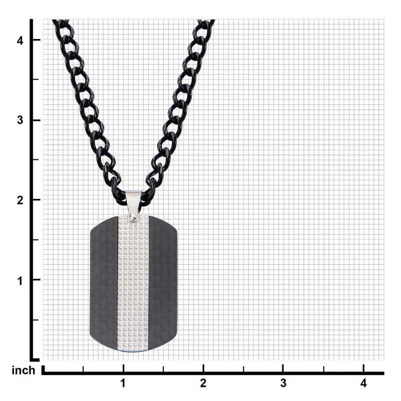 Black IP in Solid Carbon Fiber Dog Tag Pendant with Chain - Bijouterie en ligne - 3