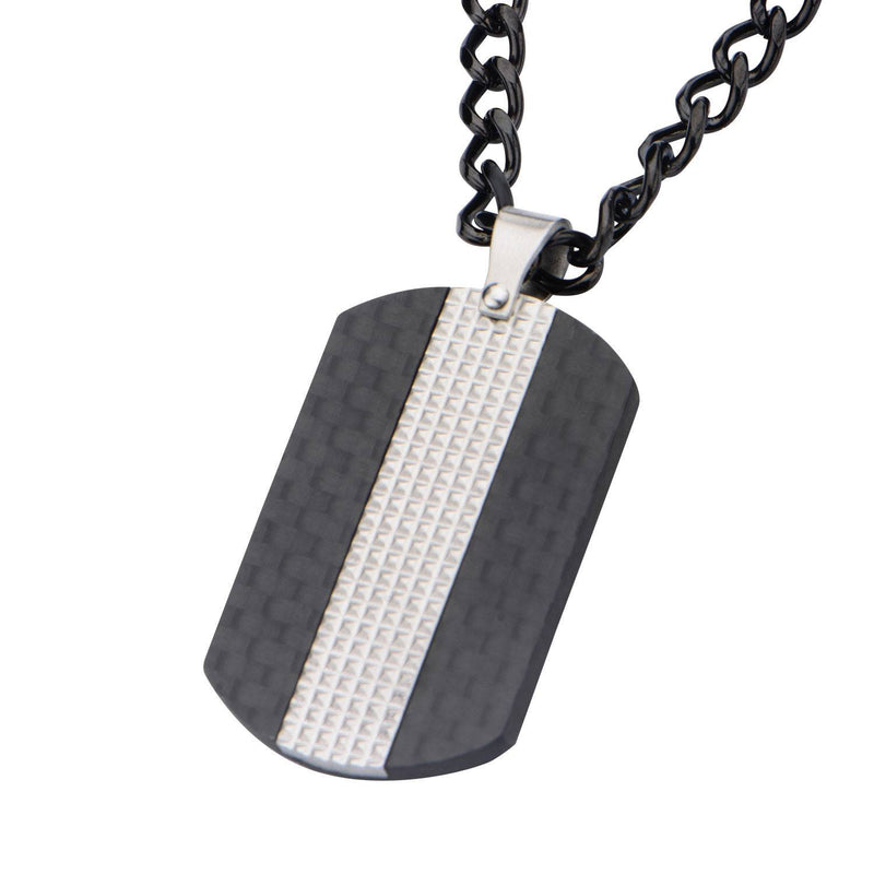 Black IP in Solid Carbon Fiber Dog Tag Pendant with Chain - Bijouterie en ligne - 2