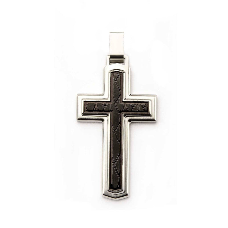 Two Layered Cross Pendant with Black PVD Plating