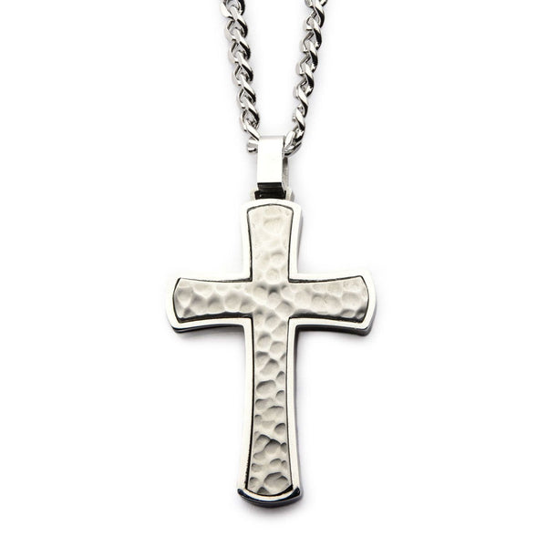 Hammered Cross Pendant with Chain