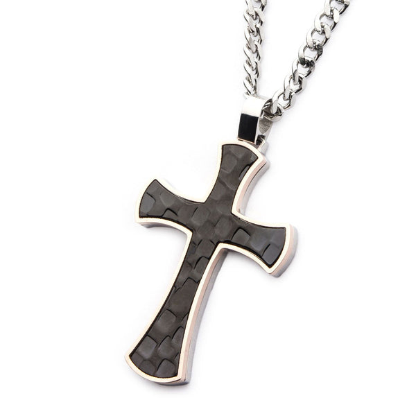 Tri-Tone Hammered Cross Pendant with Chain