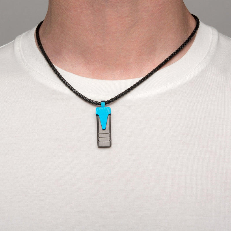 Blue IP Triangle & Black IP Groove Line Pendant with Leather Necklace - Bijouterie en ligne - 4