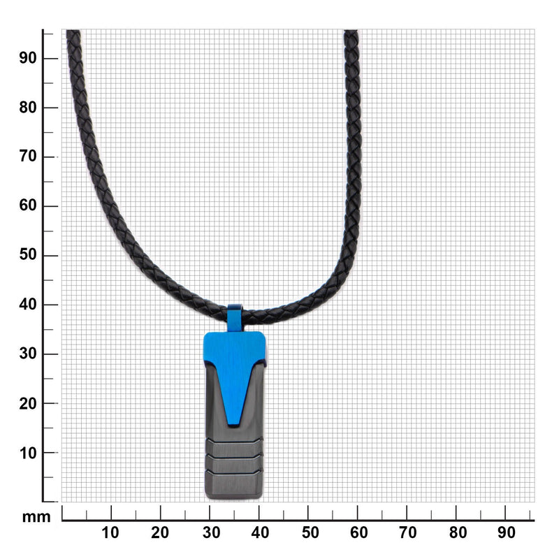 Blue IP Triangle & Black IP Groove Line Pendant with Leather Necklace - Bijouterie en ligne - 3