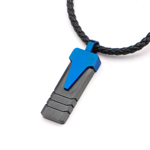 Blue IP Triangle & Black IP Groove Line Pendant with Leather Necklace - Bijouterie en ligne - 2
