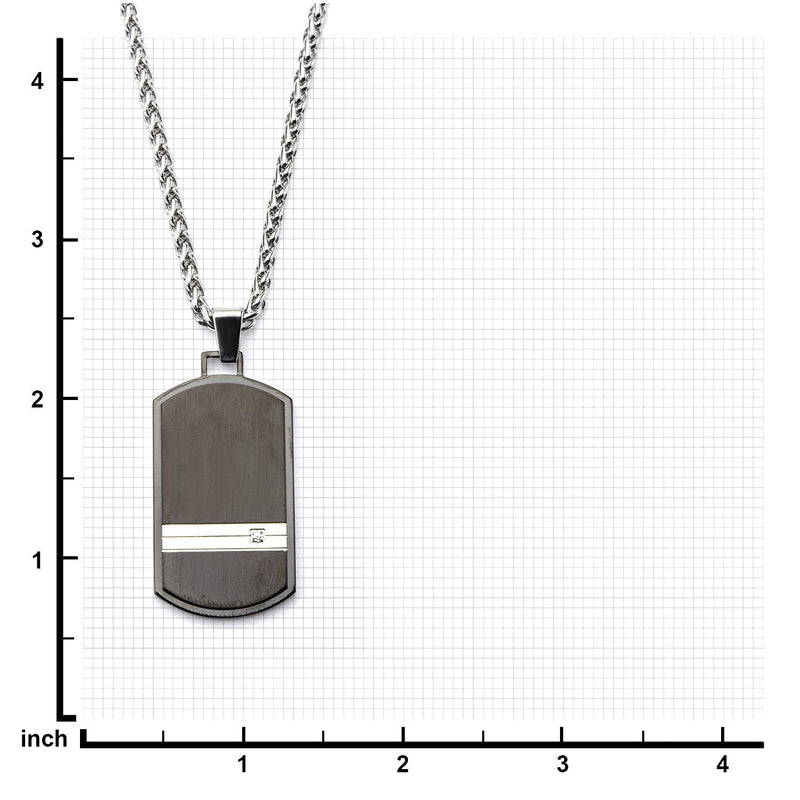 Steel Stripe with Clear CZ Black IP Dog Tag Pendant