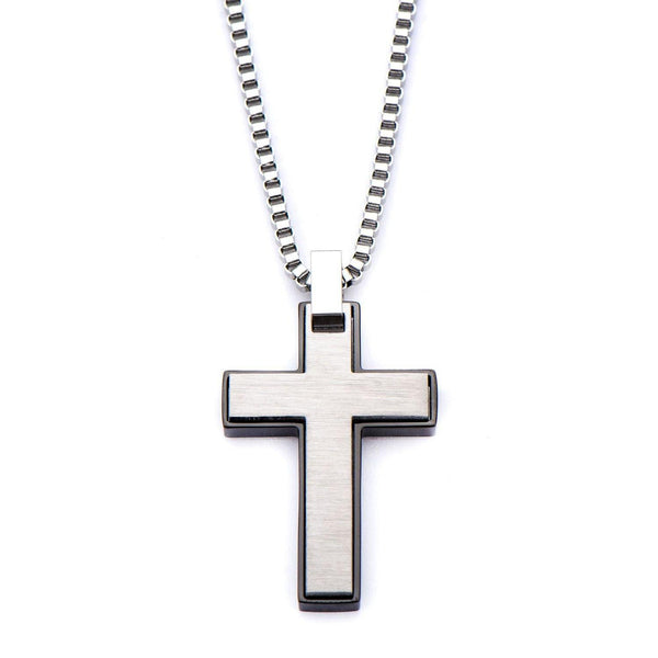 Black IP and Stainless Steel Cross Pendant with Chain