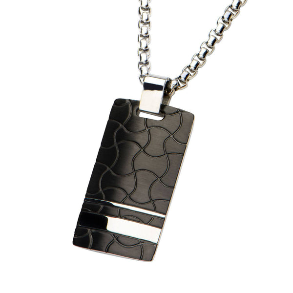 Black IP and Steel Patterned Dog Tag Pendant with 22 inch Chain. - Bijouterie en ligne - 2