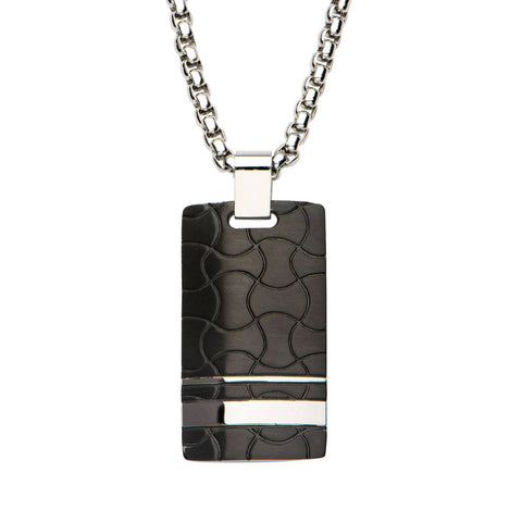 Black IP and Steel Patterned Dog Tag Pendant with 22 inch Chain. - Bijouterie en ligne - 1