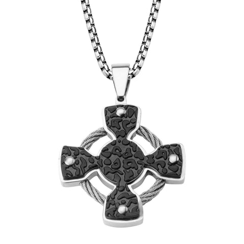 Iron Cross and Steel Cable Pendant with 24 inch Chain - Bijouterie en ligne - 1