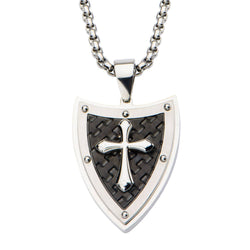 Shield and Cross with Black IP Pattern Pendant with 24 inch Chain. - Bijouterie en ligne - 1
