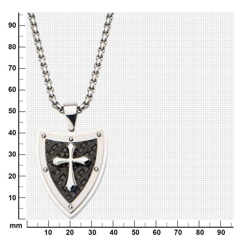 Shield and Cross with Black IP Pattern Pendant with 24 inch Chain. - Bijouterie en ligne - 3