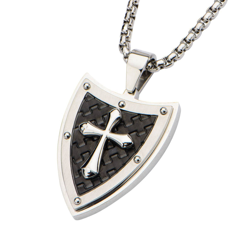 Shield and Cross with Black IP Pattern Pendant with 24 inch Chain. - Bijouterie en ligne - 2