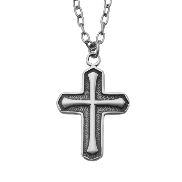 Antique Stainless Steel Cross Pendant with Chain - Bijouterie en ligne - 1