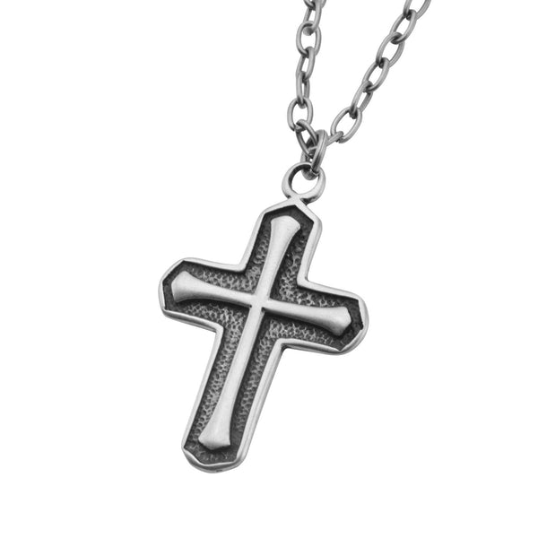 Antique Stainless Steel Cross Pendant with Chain - Bijouterie en ligne - 2