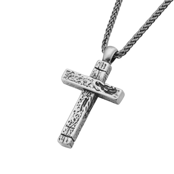 Antique Stainless Steel Aged Cross Pendant with Chai - Bijouterie en ligne - 2