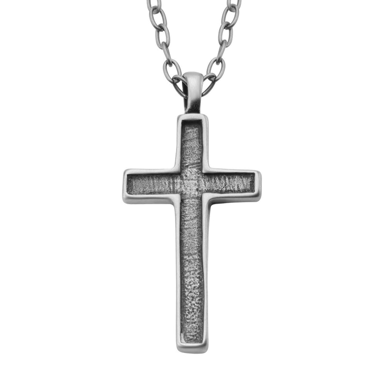 Antique Stainless Steel Graved Cross Pendant with Chain - Bijouterie en ligne - 1