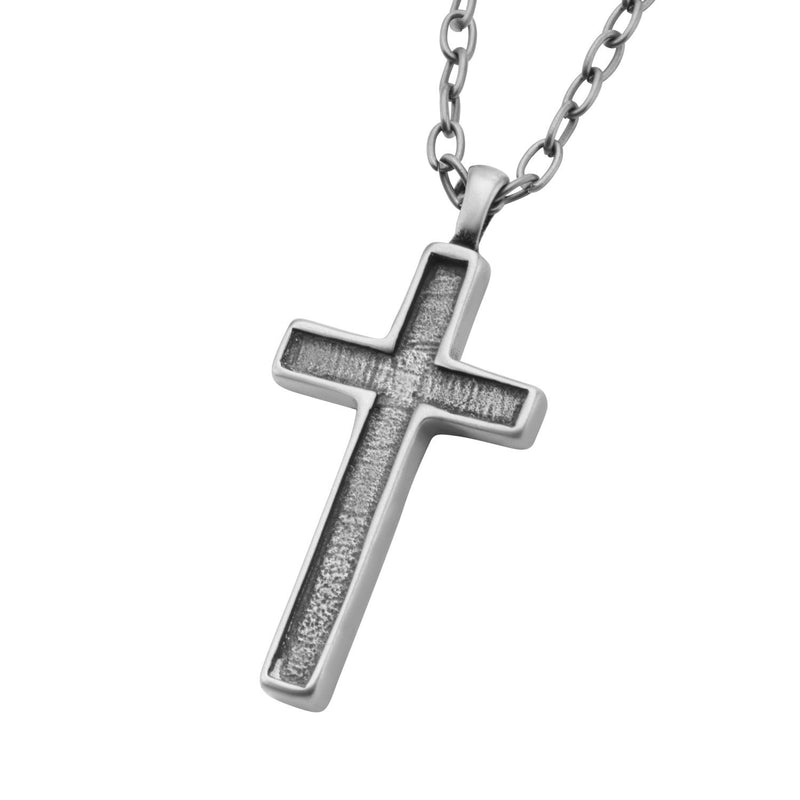 Antique Stainless Steel Graved Cross Pendant with Chain - Bijouterie en ligne - 2