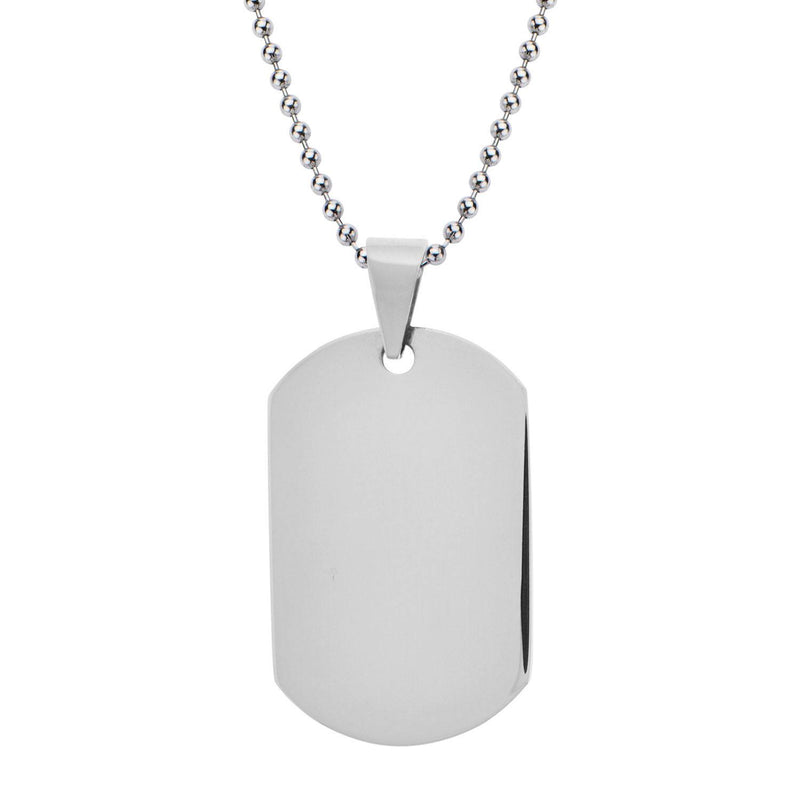 Dog Tag Pendant with all over Polished Finish. Engraveable - Bijouterie en ligne - 1
